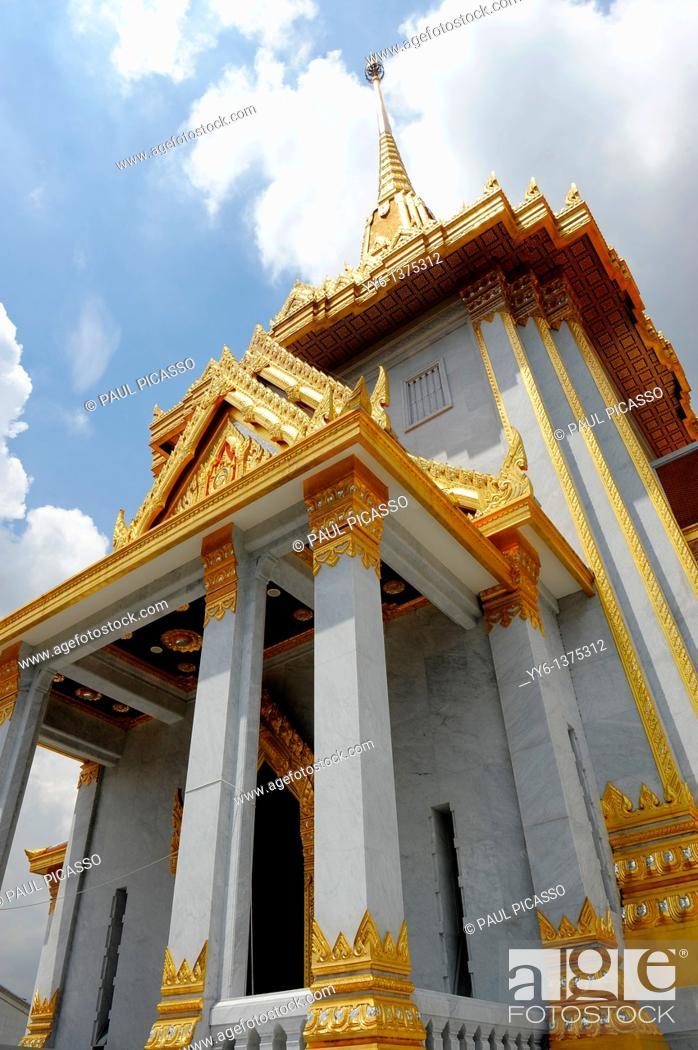 Stock Photo: Wat Traimit Phra Maha Mondop Scripture Library of the Golden Buddha , Chinatown , Bangkok , Thailand.