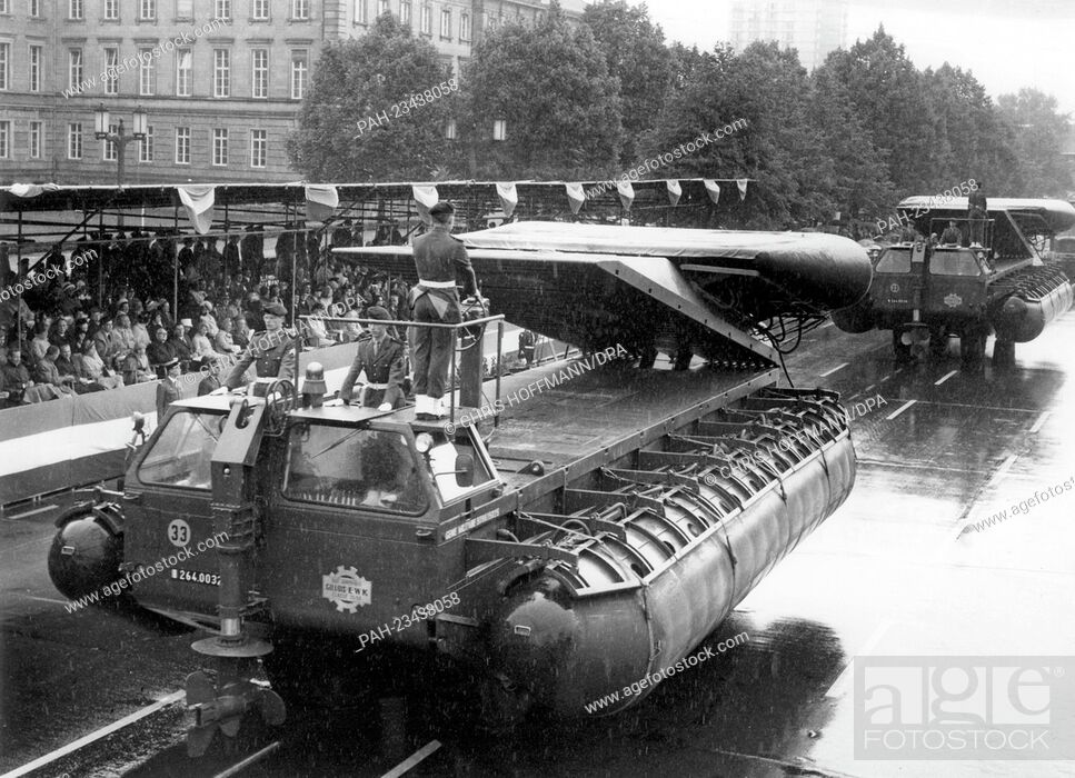 Stock Photo: New French pontoons driving past a VIP stand during a parade on occasion of the 'Armed Forces Day' on 18th May 1968 in Berlin. - Berlin/Berlin/Germany.