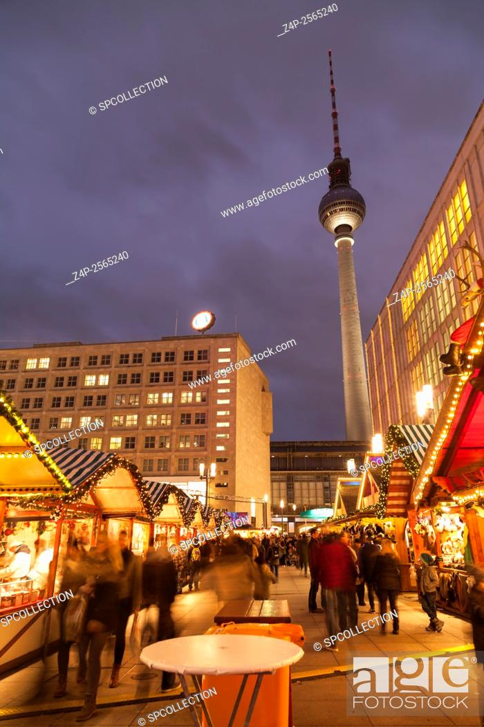 Stock Photo: Christmas market at Alexanderplatz in Berlin Germany.