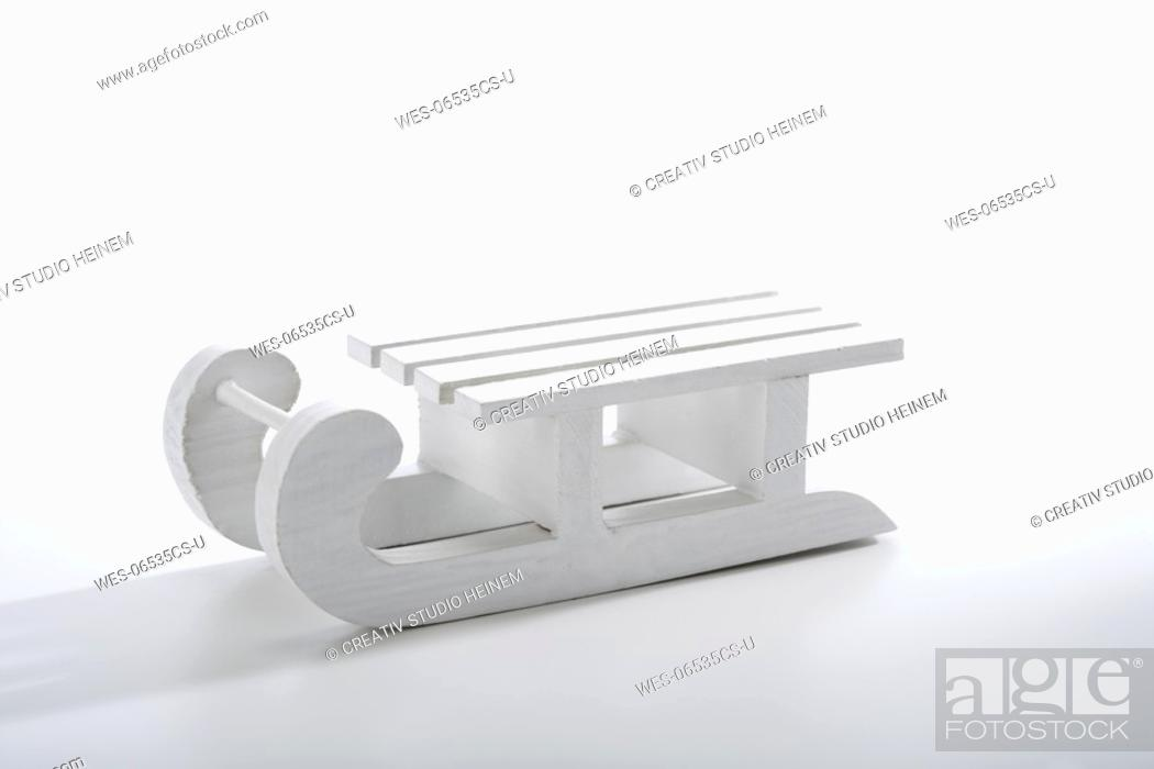 Stock Photo: Christmas decoration, white sledge.