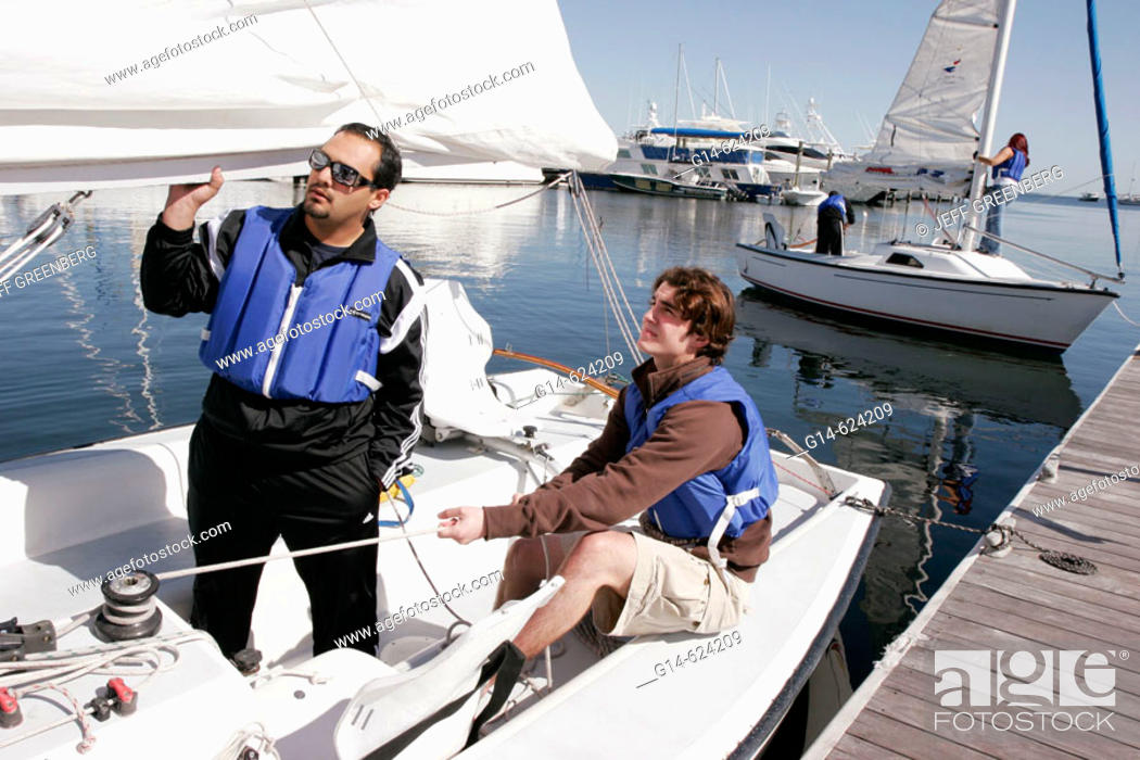 Stock Photo: Florida, Coconut Grove, Biscayne Bay, Shake-A-Leg Dock, FIU sailing class.