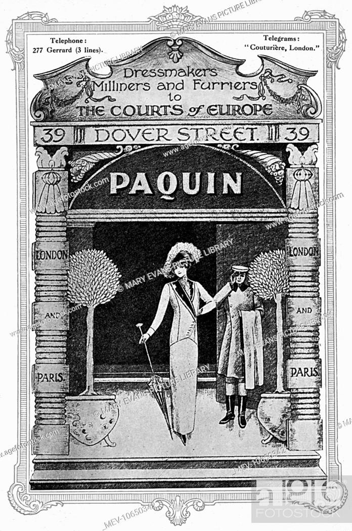 Stock Photo: Advertisement for the fashion house, Paquin, 'dressmakers, milliners and furriers to the Courts of Europe' with branches in Paris and London (at 39 Dover.