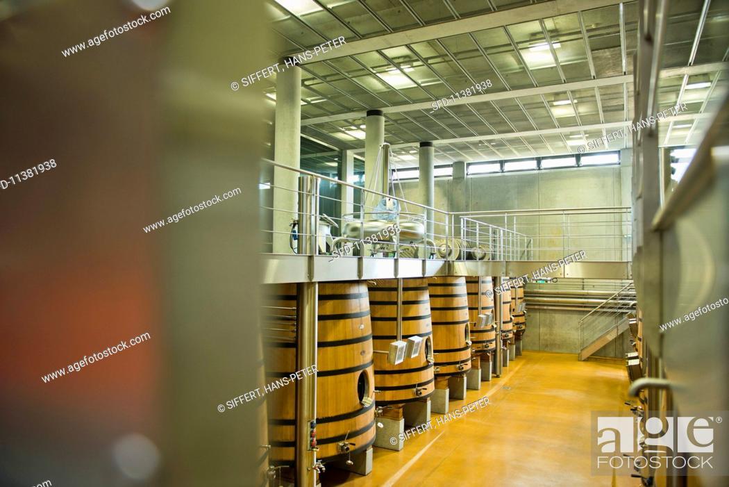Stock Photo: A fermentation cellar at the Chateau Faugeres vineyard (St-Emilion, Bordeaux, France).