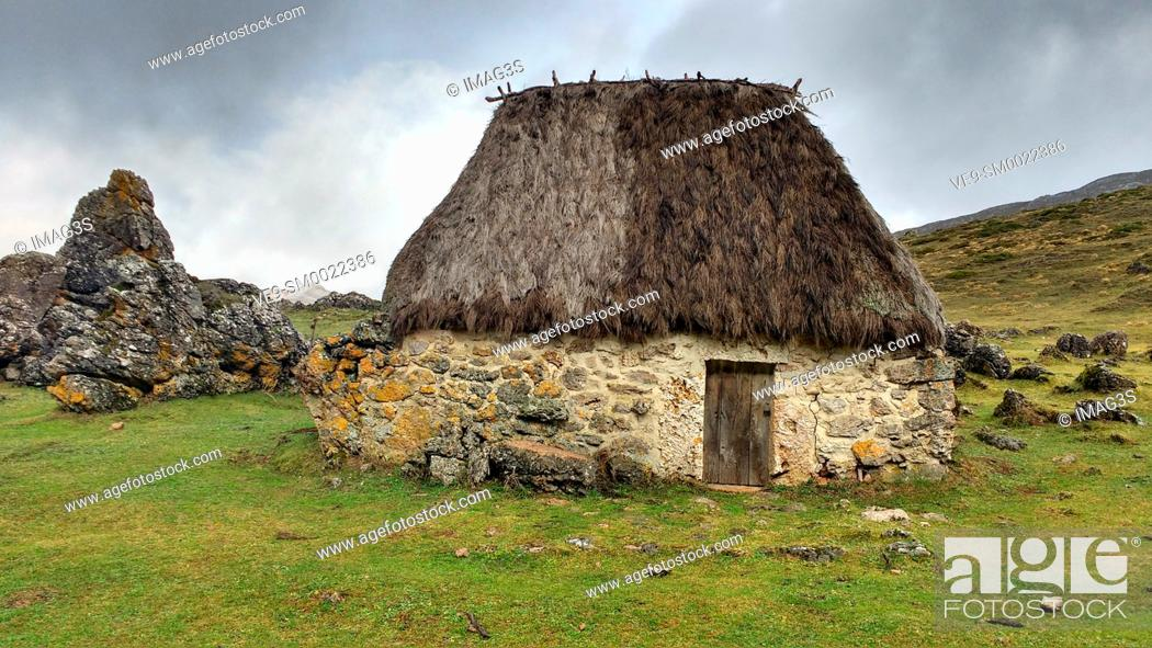 Stock Photo: Teito (typical dwelling) in the 'braña' of La Chamera, Somiedo Natural Park. Asturias. Spain.