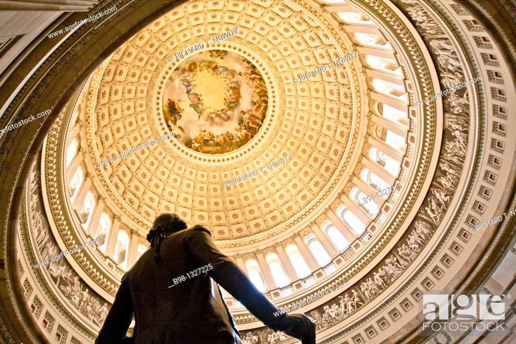 Stock Photo: Tour of the US Capitol Building's Rotunda.