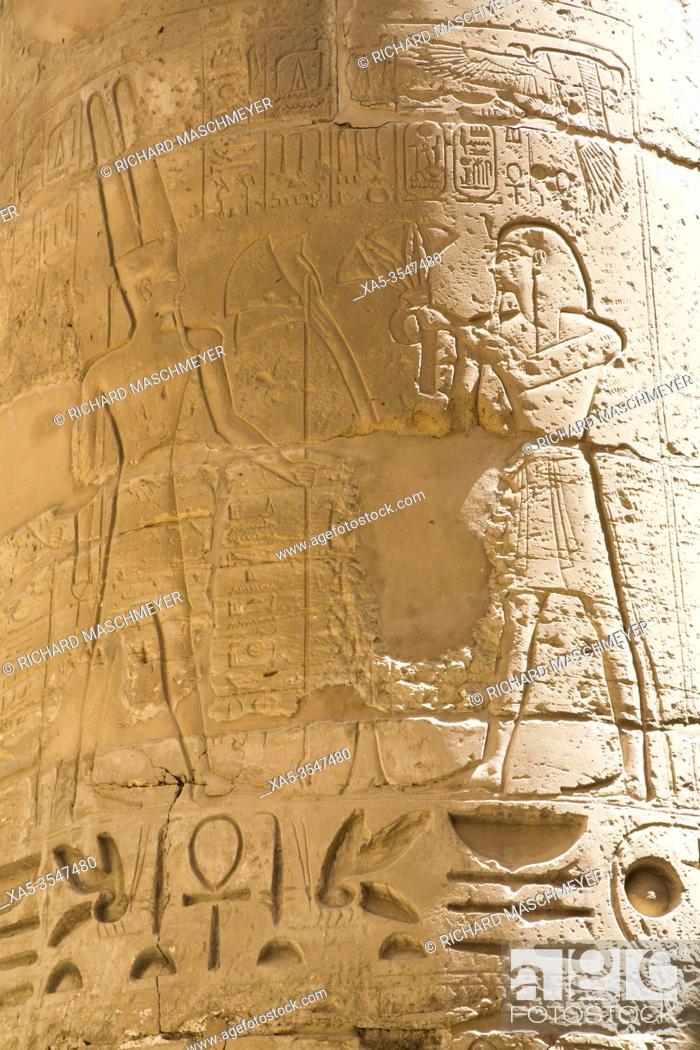 Photo de stock: Reliefs, Column, Great Hypostyle Hall, Karnak Temple Complex, UNESCO World Heritage Site, Luxor, Egypt.