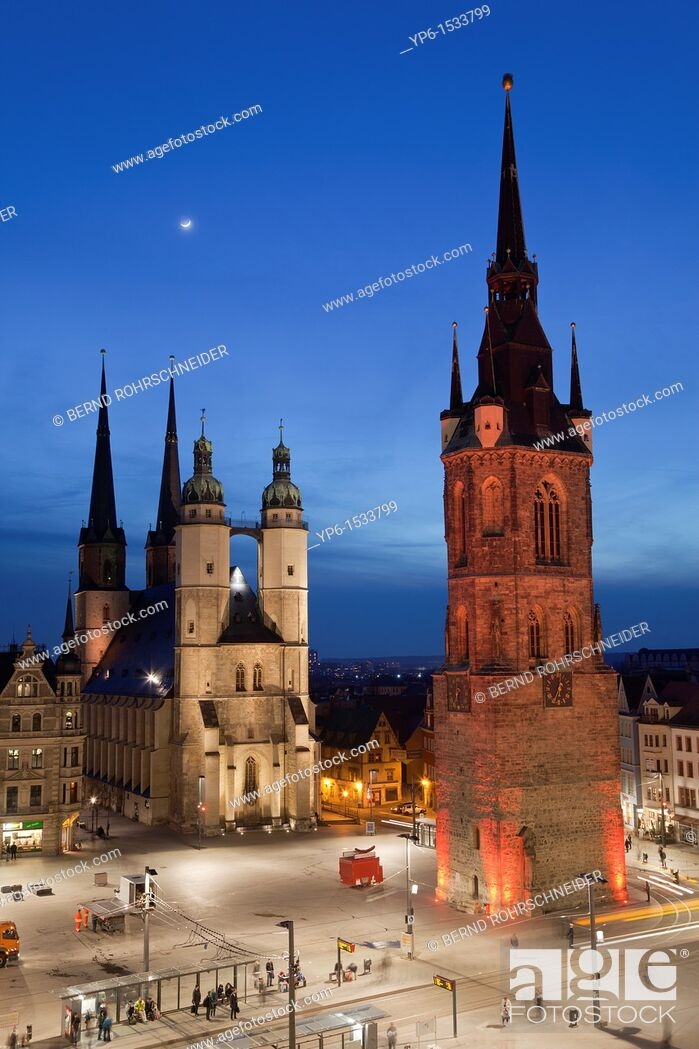 Stock Photo: Marienkirche (St. Mary's Church) and Red Tower, illuminated at night, Halle, Germany.