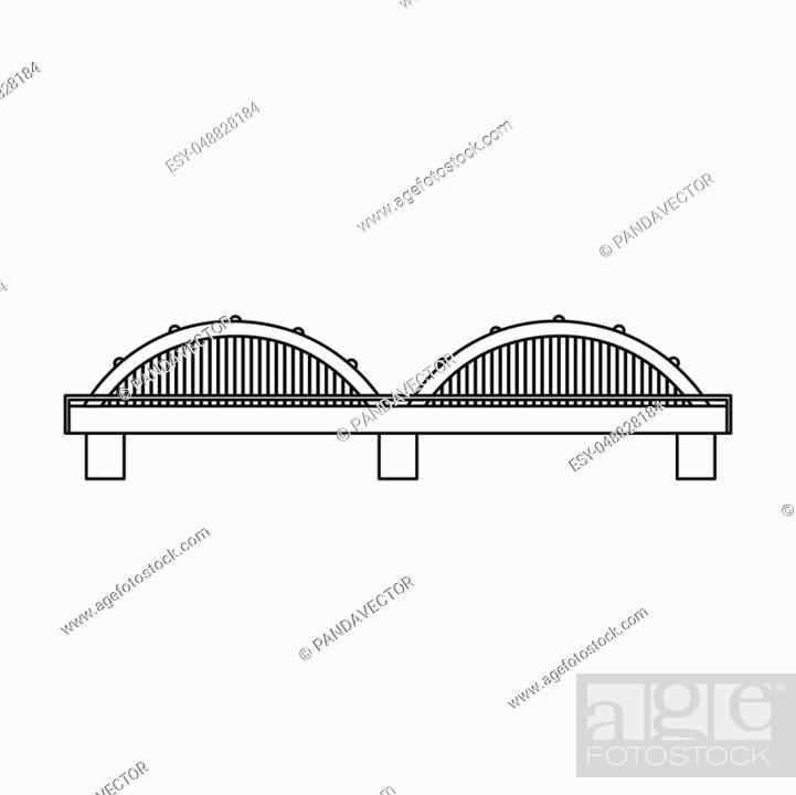 Stock Vector: Bridge icon in outline style isolated on white background. Building symbol vector illustration.