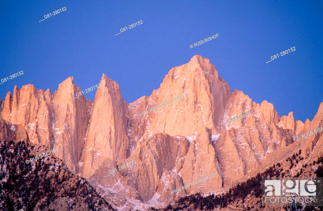 Stock Photo: East face of Mount Whitney. Inyo National Forest. Eastern Sierra Nevada. California. USA.