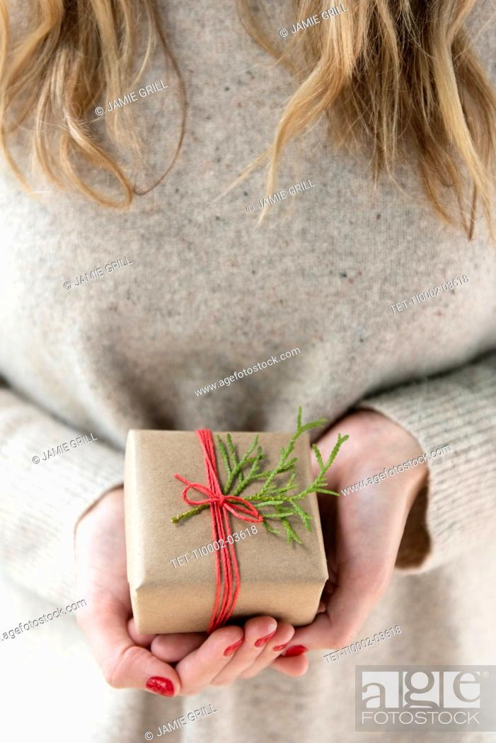 Stock Photo: Hands of woman holding Christmas present.