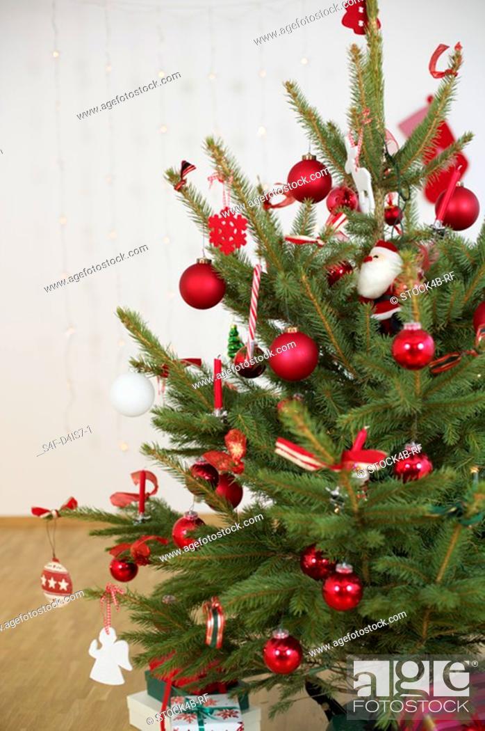 Stock Photo: Decorated Christmas tree.