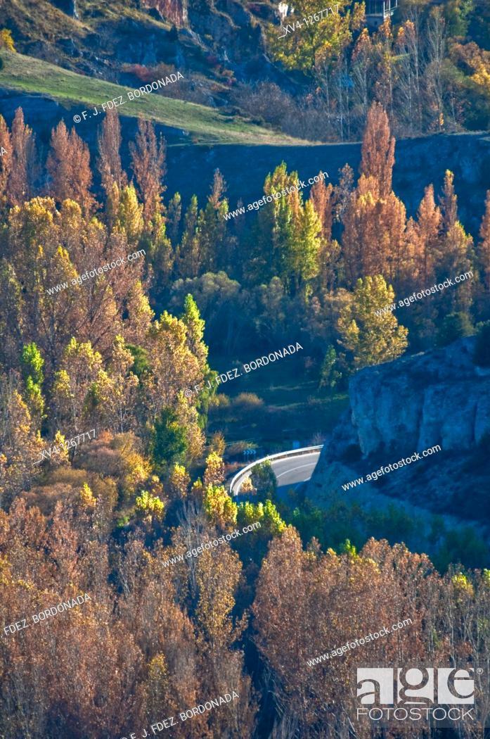 Stock Photo: La Galiana viewpoint Rio Lobos Nature Park Canyon Ucero, Soria Castile-Leon Spain.