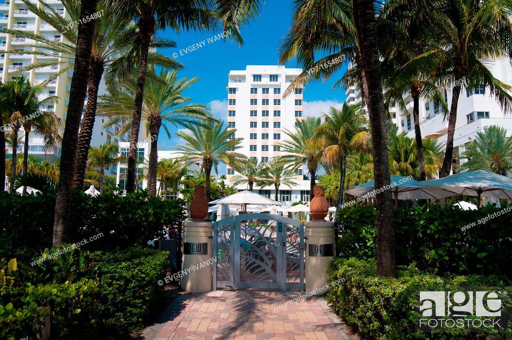 Stock Photo: Back door to the beach of the luxury Loews hotel in Miami Beach, Florida.