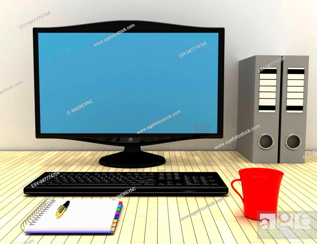 Stock Photo: work space concept. 3d illustrator.