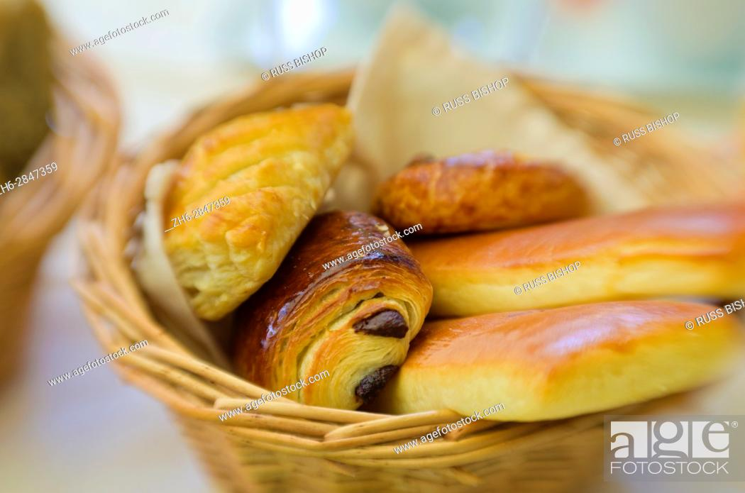 Stock Photo: Basket of pastries, Paris, France.