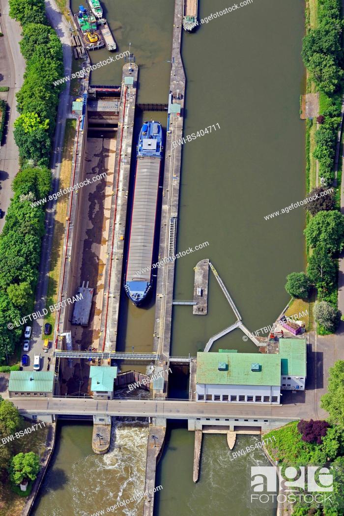 Stock Photo: Horkheim watergate, aerial view, Germany, Baden-Wuerttemberg, Neckargemuend, Heilbronn.
