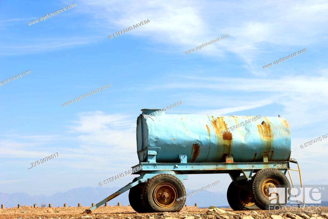 Stock Photo: Water tank trailer - Dahab, Sinai Peninsula, Egypt.