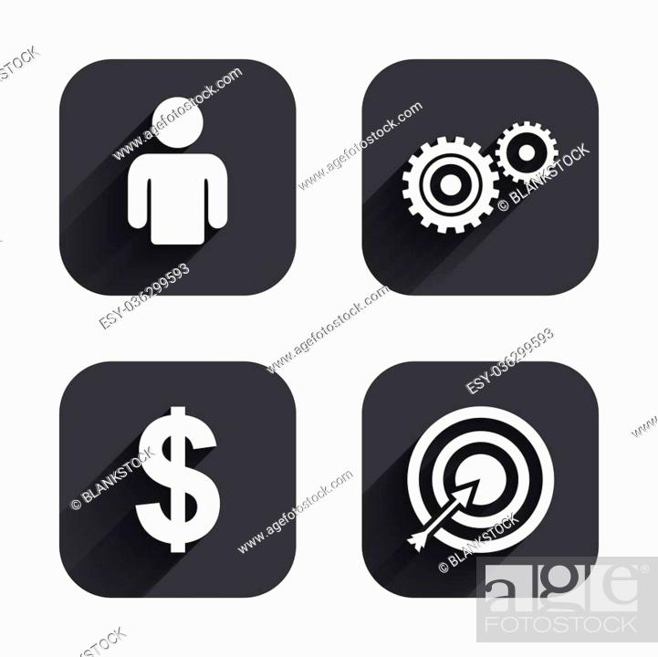 Stock Vector: Business icons. Human silhouette and aim targer with arrow signs. Dollar currency and gear symbols. Square flat buttons with long shadow.