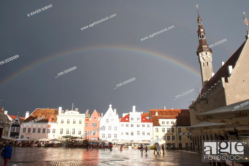 Stock Photo: Rainbow, Town Hall Square, Tallinn, Harju, Estonia.