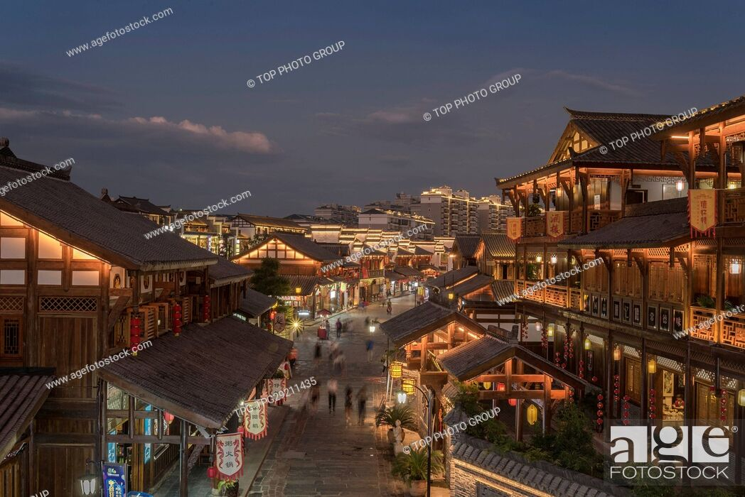 Stock Photo: Night view of Ancient town.
