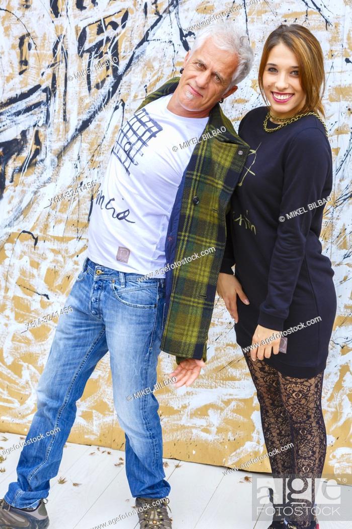 Stock Photo: Two people posing.