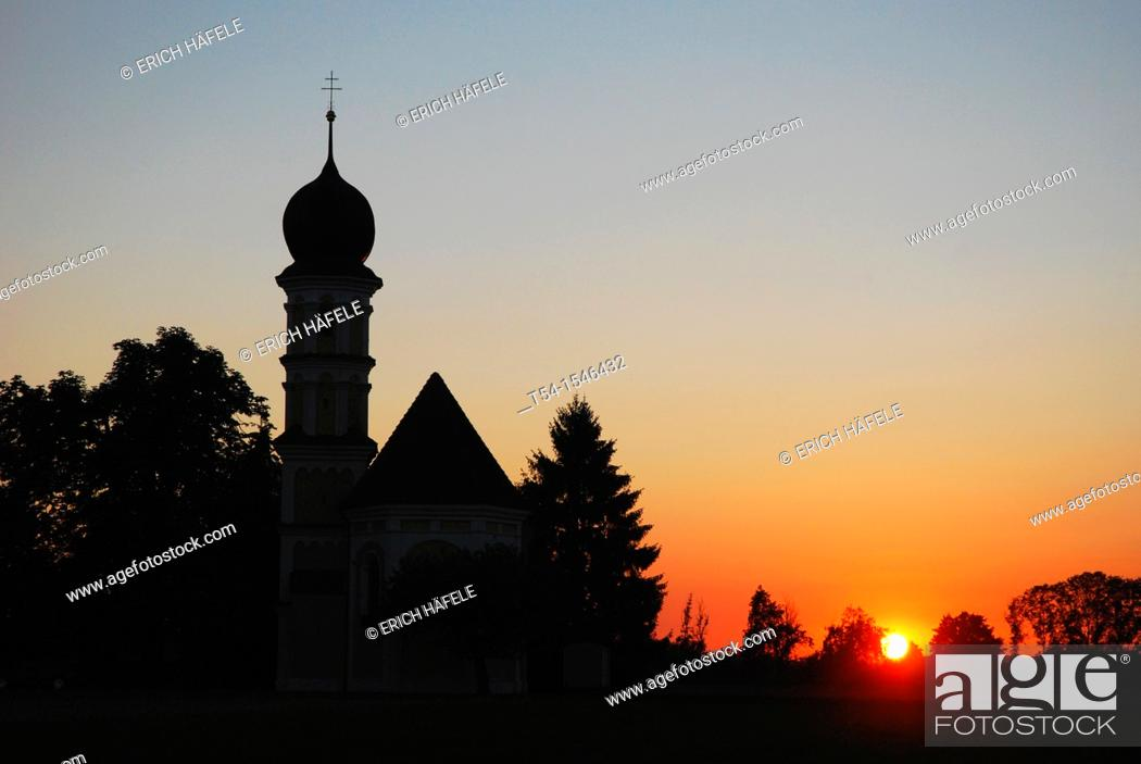 Stock Photo: Sunset at a chapel.