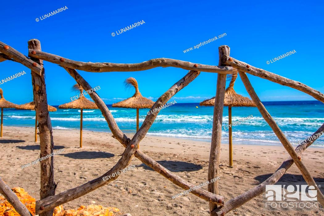 Stock Photo: Menorca Platja Sant Tomas in Es Mitjorn Gran at Balearic islands of Spain.