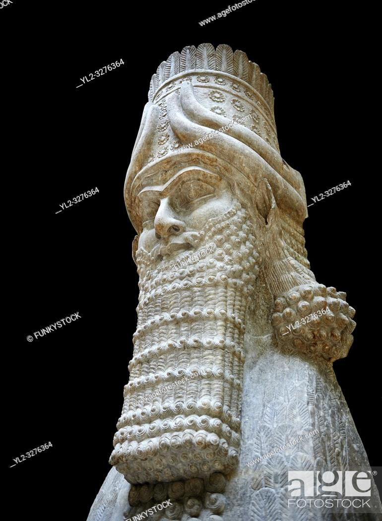 Stock Photo: Stone statue of a winged bull. From city gate no 3, Inv AO 19859 from Dur Sharrukin the palace of Assyrian king Sargon II at Khorsabad, 713-706 BC.
