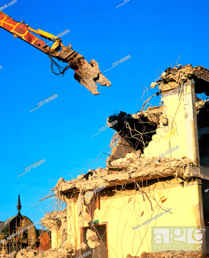 Stock Photo: Shopping complex being demolished.
