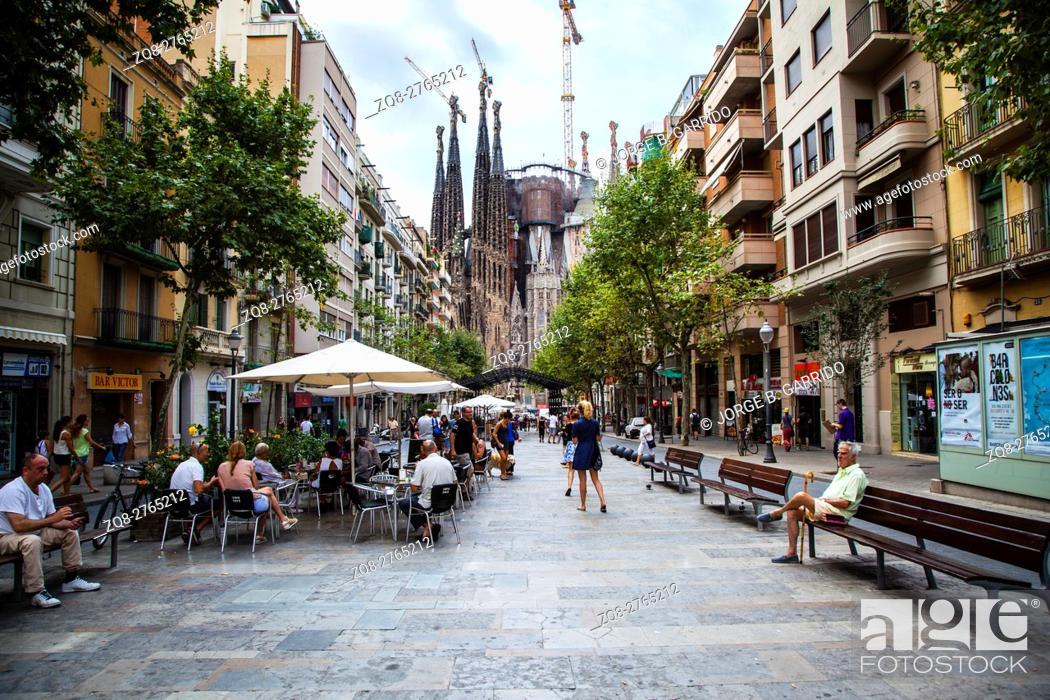 Stock Photo: Famous Basilica y Templo Expiatorio de la Sagrada Familia at the end of Avinguda Gaudi.