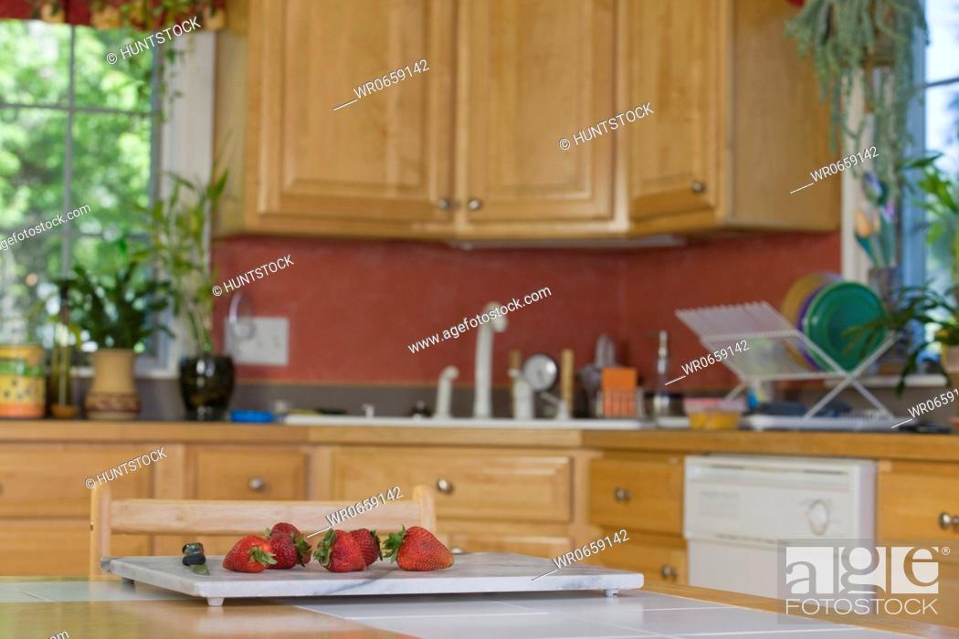 Stock Photo: Interiors of a kitchen.