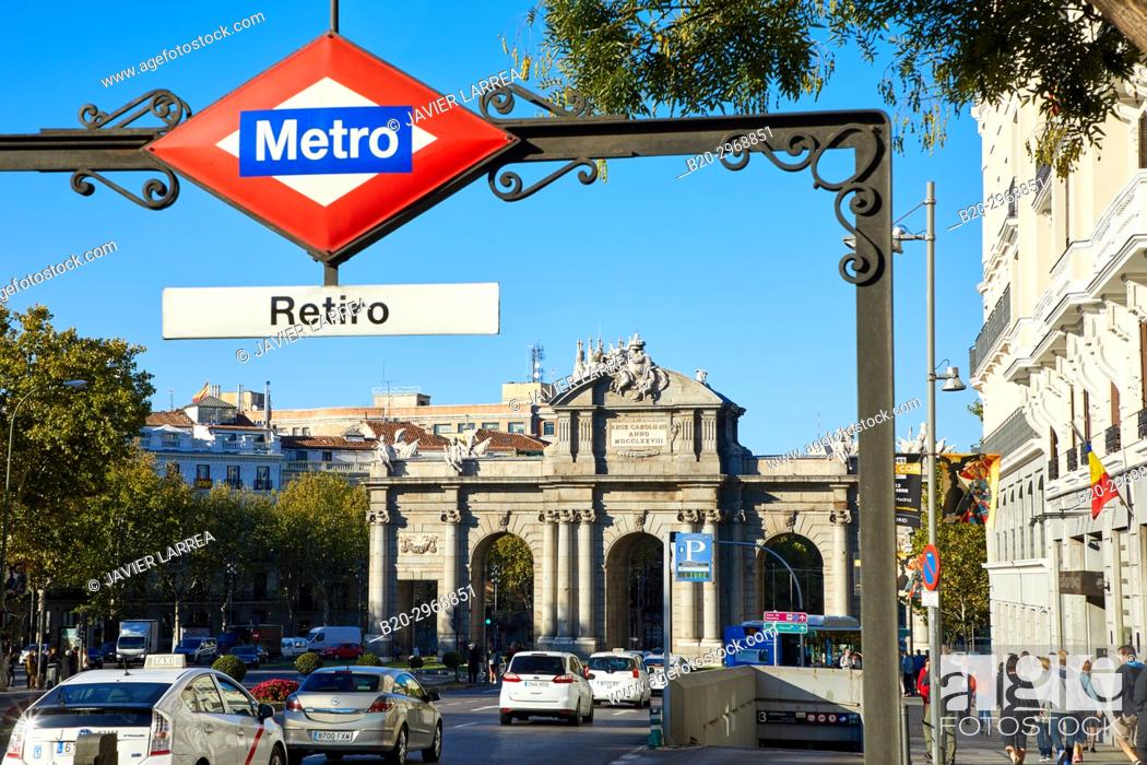 Stock Photo: Puerta de Alcalá, Retiro Metro station, Madrid, Spain, Europe.