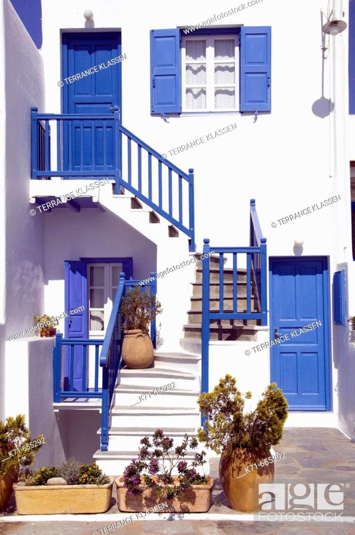 Stock Photo: Greek architecture in the town of Hora on the Greek Island of Mykonos, Greece.