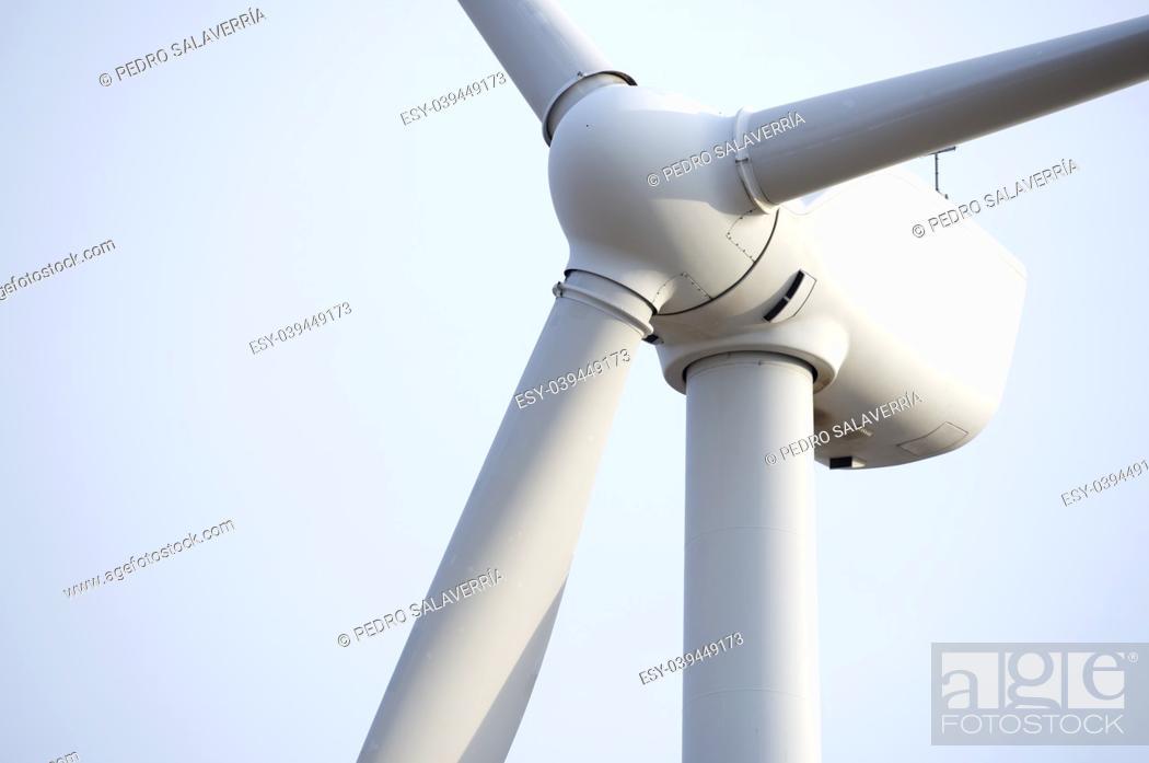 Stock Photo: Windmill for electric power production, Pozuelo de Aragon, Zaragoza, Aragon, Spain.