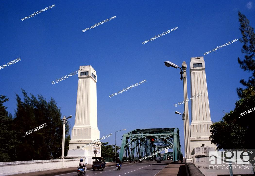 Stock Photo: Concrete peirs of the steel structure Memorial Bridge over the Chao Phraya River in Bangkok in Thailand in Southeast Asia Far East.