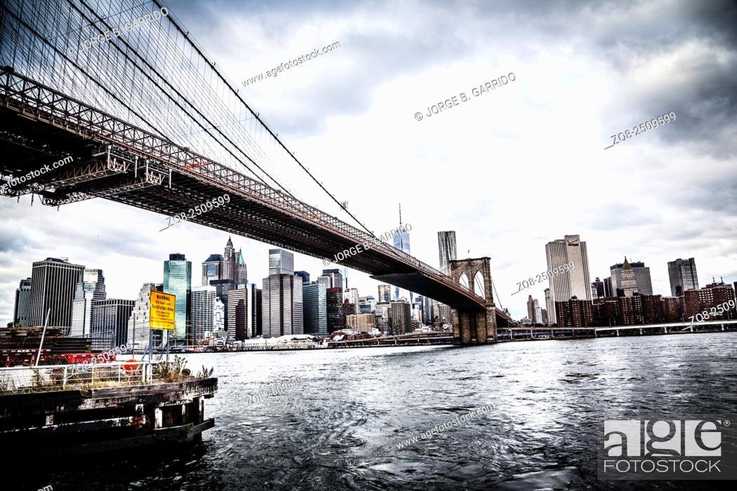 Stock Photo: The Brooklyn Bridge Park in New York City.