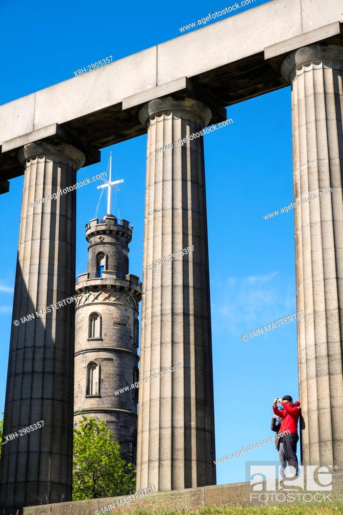 Stock Photo: The Nelson Monument and National Monument on Calton Hill in Edinburgh, Scotland, United Kingdom.