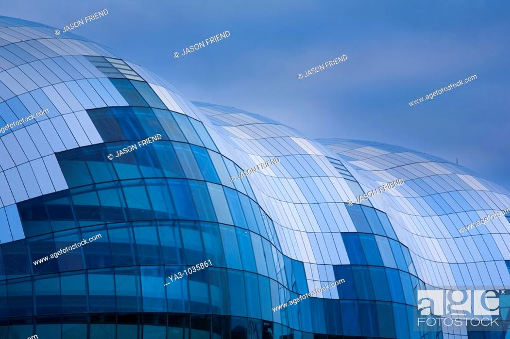Stock Photo: England, Tyne and Wear, Newcastle upon Tyne  Abstract view of the Sage Building located on the Newcastle upon Tyne Quayside.