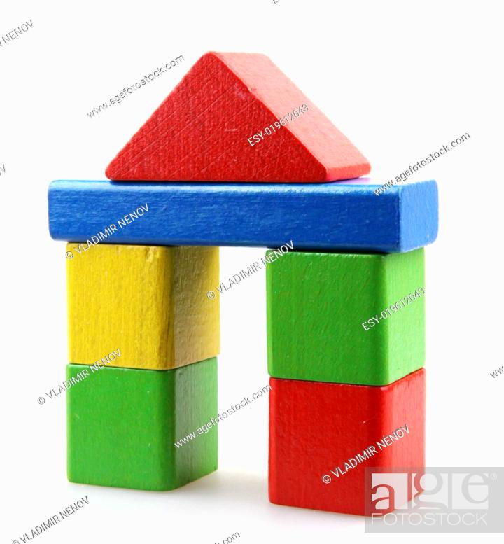 Stock Photo: Wooden building blocks.