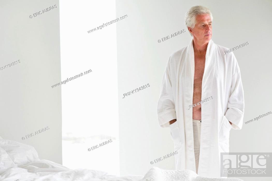 Stock Photo: Senior man wearing a bathrobe.