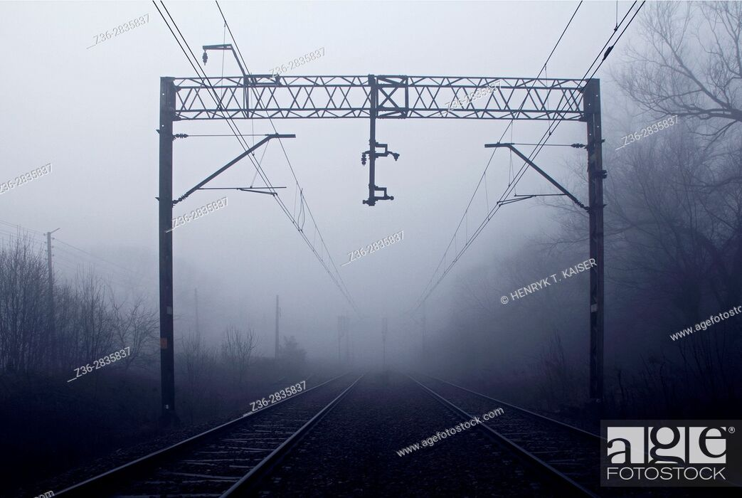 Stock Photo: Train tracks at dark.