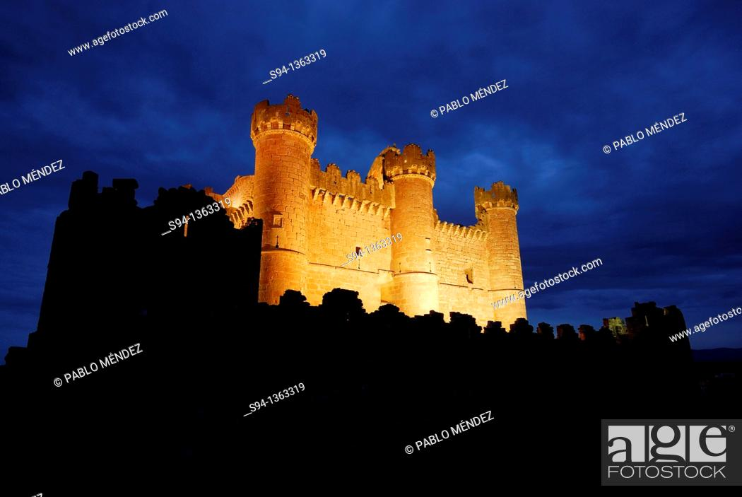 Stock Photo: Castle illuminated of Turegano, Segovia, Spain.