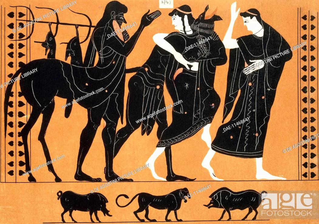 Stock Photo: Fight between Peleus and Thetis in front of Chiron and Nereo, reproduction of a painting from a vase preserved in Leiden. Greek civilisation.