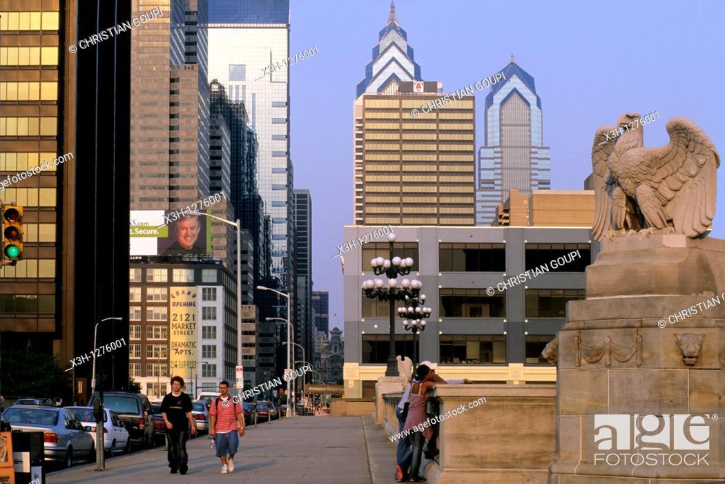 Stock Photo: Market street, center city of Philadelphia, Pennsylvania, United States.