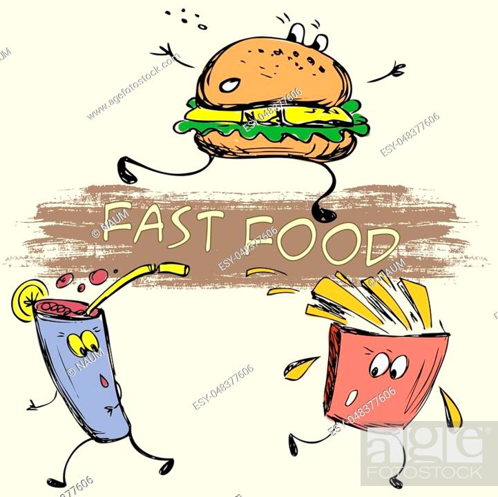 Stock Vector: vector hand drawn sketch illustration - fast food: french fries, soda, burger.