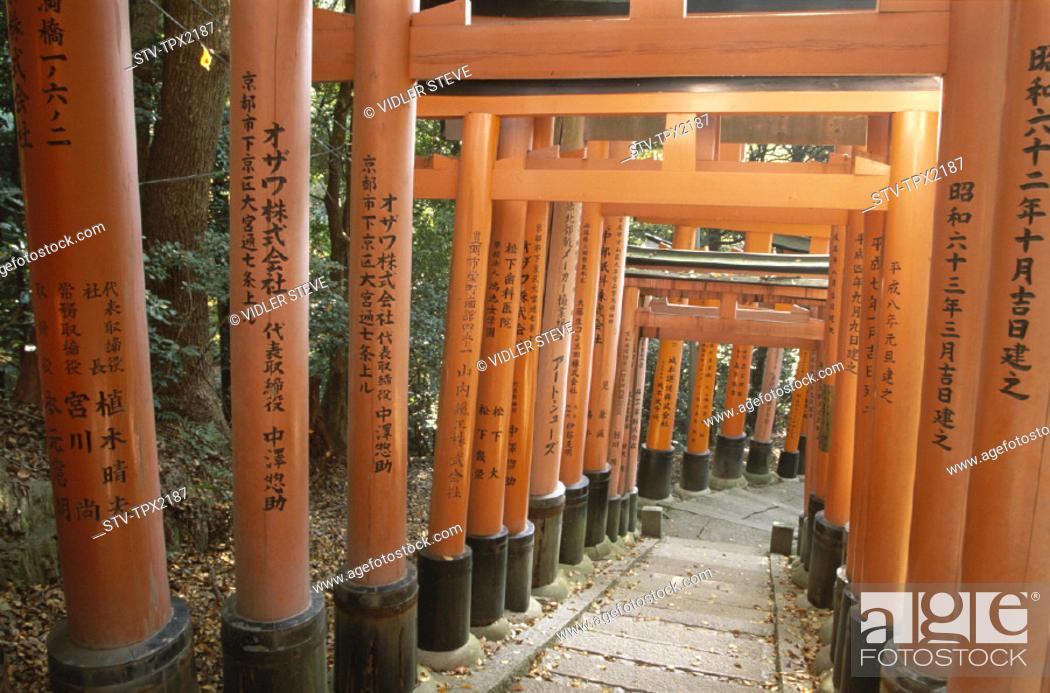 Imagen: Asia, Fushimi, Holiday, Honshu, Japan, Kyoto, Landmark, Path, Sacred, Shrine, Torii, Tourism, Travel, Vacation,.