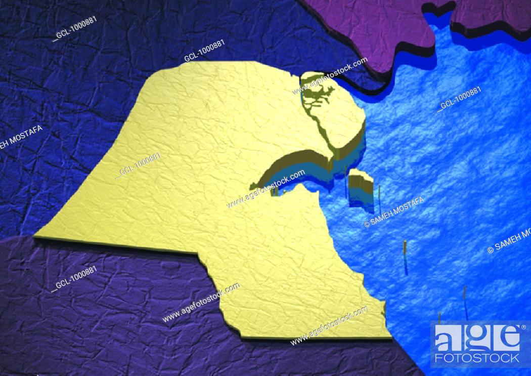 Stock Photo: map of Kuwait.