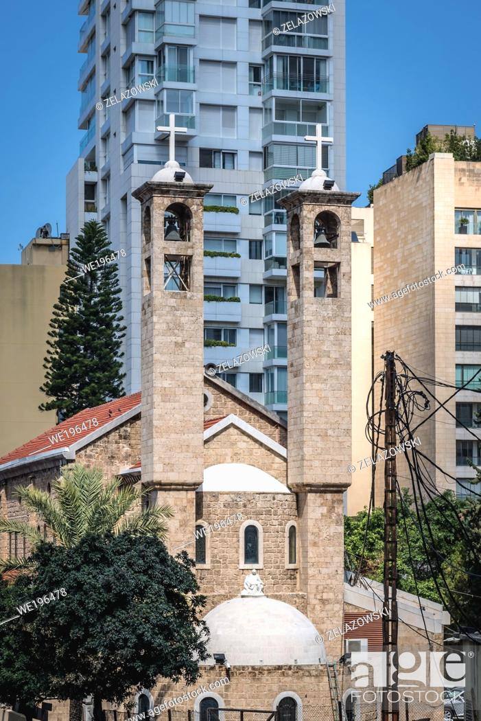 Stock Photo: Saint Maron Maronite Church in Beirut, Lebanon.