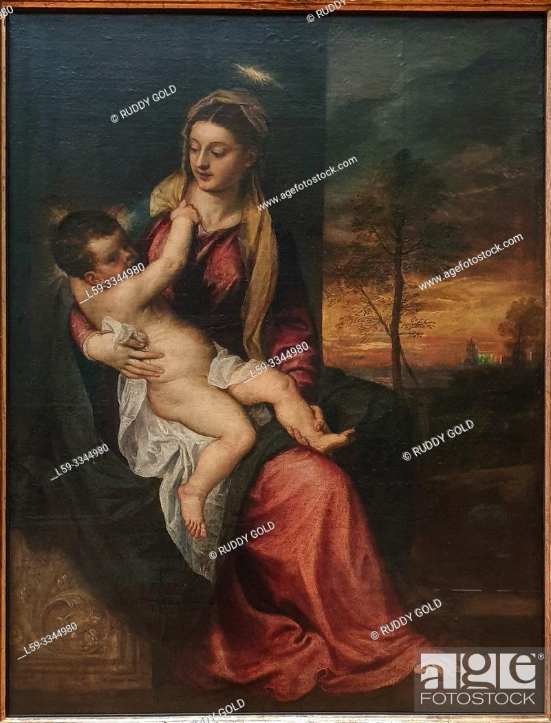 Stock Photo: 'Virgin and Child in an Evening Landscape', 1560, Tizian (1485/90-1576).