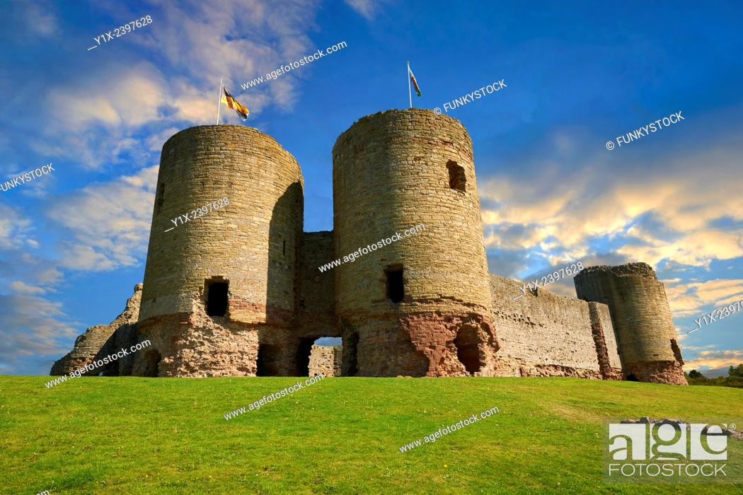 Stock Photo: Rhuddlan Castle built in 1277 for Edward 1st next to the River Clwyd, Rhuddlan, Denbighshire, Wales.